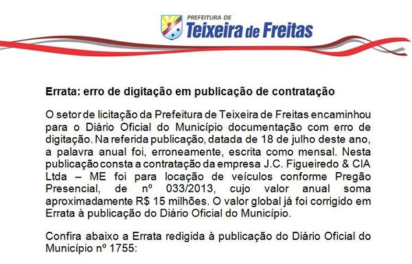 Contratante  Prefeitura Municipal de Teixeira de Freitas. Contratada  J.C.  Figueiredo   CIA Ltda – ME 77253a17de3f1